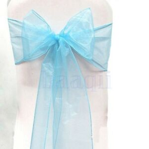 5x Organza Sash Chair Cover Bow Wedding Craft Meeting Venue Decor