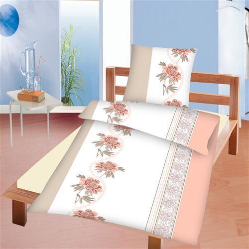 Bettwäsche Set 2-tlg 80x80 rosa lachs weiß hellbraun Bettbezug 135x200
