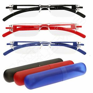 1441e60469 Image is loading Ultra-Lightweight-Compact-Reading-Glasses-Spectacles -Travel-Case-