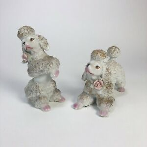Pair-of-Two-Vintage-Spaghetti-Begging-Poodle-Dogs-With-Roses-Pink-White-Unmarked