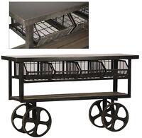 61 L Industrial Trolly Steel Rustic Iron Wheels 4 Baskets Reclaimed Wood Shelf