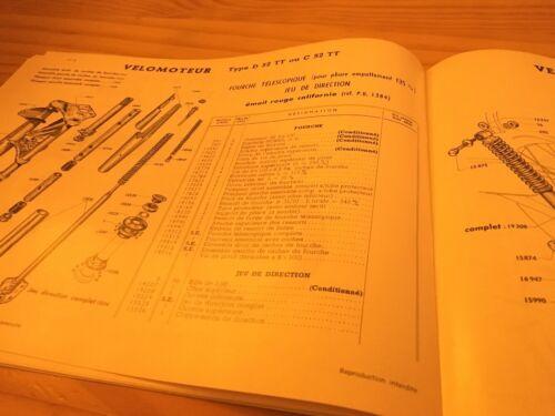 Motobécane D52 C52 D52TT C52TT catalogue pièces détachées parts list Motoconfort