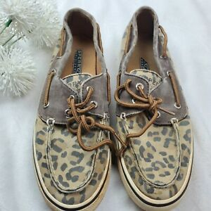 Sperry-Top-Sider-Womens-Boat-Shoes-Tan-with-Leopard-Cheetah-Print-Size-7M