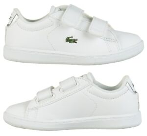 7c7682105cc5 Lacoste Carnaby Evo BL 1 Infants Kids Boys Girls Baby Trainers White ...