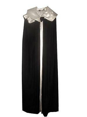 Vtg John Hagarty Irish Black Wool Cape Hooded Gothic Opera Cloak Satin Lined