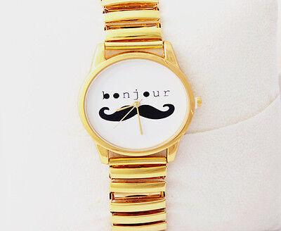 "P1076 New Fashion Cute Black Mustache Gold Chain Wristwatch Winding ""Runs"""