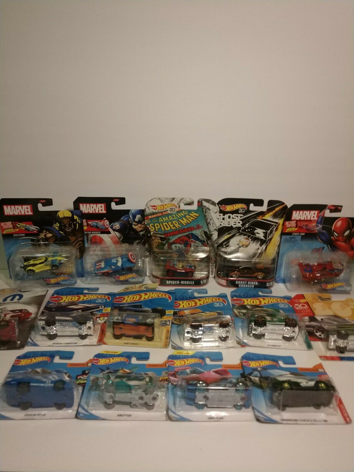 Hot Wheels lot of 15.  Spiderman, ghost rider, marvel, mopar, and more OBO