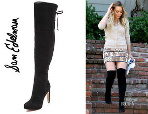 10b69afb484fc2 Details about Sam Edelman Kayla Over-the-Knee Boots Suede Black 8.5 M US SE1