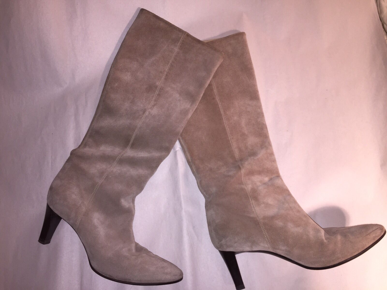 pre-loved authentic BALENCIAGA size 39 natural bone SUEDE high heel BOOTS $1800