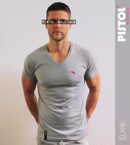 Pistol-Boutique-Mens-Grey-Plain-Vneck-chest-embroidered-logo-badge-tshirt-Medium