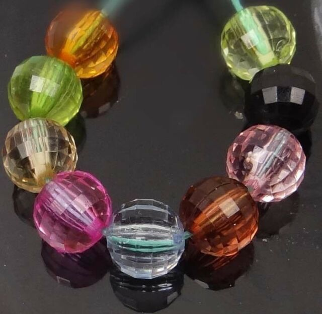 8mm Mixed Color Faceted Round Acrylic Beads spacer (100 pcs)