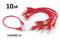 10-pack Intellinet 1ft Cat5e Utp Ethernet Rj45 Full 8-wire Patch Cable, Red