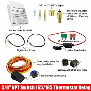 Dual Electric Cooling Fan Wire Harness Kit 185 On 165 Off Engine Fan Thermostat Temperature Switch 50 AMP Relay Kit