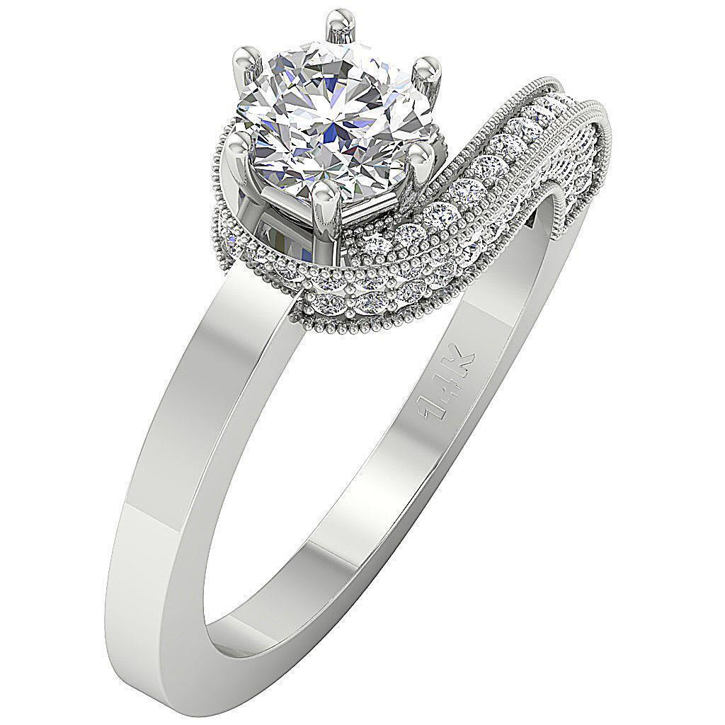 Natural Diamond Six Prong Solitaire Engagement Ring I1 G 1.75 Ct 14K Solid gold