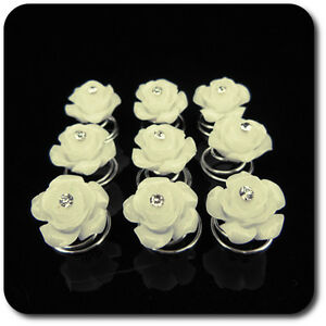 Efficace Set 10 Curlies Haarspiralen Fleurs Rose Épingles à Cheveux Nacre-optik Mariée Mariage-afficher Le Titre D'origine RéSistance Au Froissement