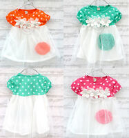 Baby Kids Girls Polka Dot 3D Flower Tulle Dress Party Wedding Xmas Skirt 0-3Year