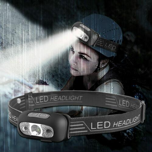 USB Rechargeable Sensor Head Torch Light Headlight Walk Camping Led Headlamp UK