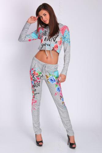 Due Top Pantaloni Set Uk cappuccio pezzi con 14 Felpa Crop 8 Tuta Sport Fc2049 qwBSxqF