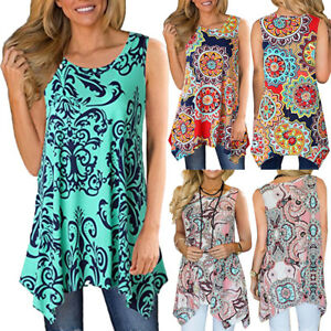 Women-Casual-Printed-Sleeveless-Shirt-Asymmetrical-Loose-Tunic-Blouse-Tops-Vest