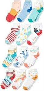 Spotted Zebra Kids Cotton Quarter-Crew Socks , 12 Packs,( Under the Sea) Size L