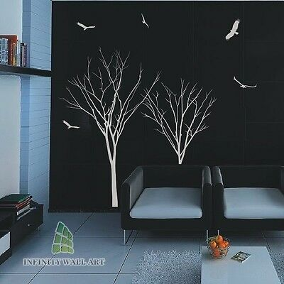 Winter Autumn Tree Birds Lounge Bedroom Wall Art Stickers Tree Wall Decals--P246