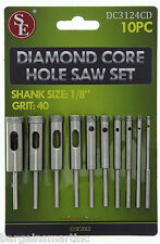10pc 40 Grit Diamond Core Hole Saw Drill Set 1/8-1/2 Bits for HS Rotary Tool
