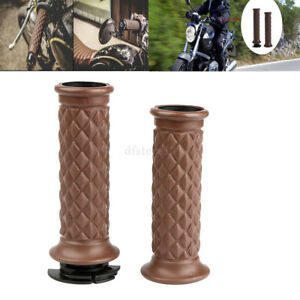 Set-7-8-034-Moto-Guidon-PoigneE-Pour-Cafe-Racer-Bobber-Clubman-Personnalise-Brown