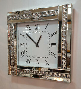 Modern Diamonte Crystal Mirrored Glass Square Wall Clock