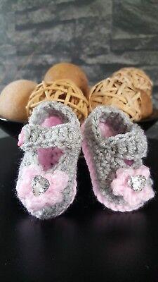 ** NUEVO hecho a mano de ganchillo botitas de bebé de niña bebe Reborn Recién Nacido - 9 M 9 Colores