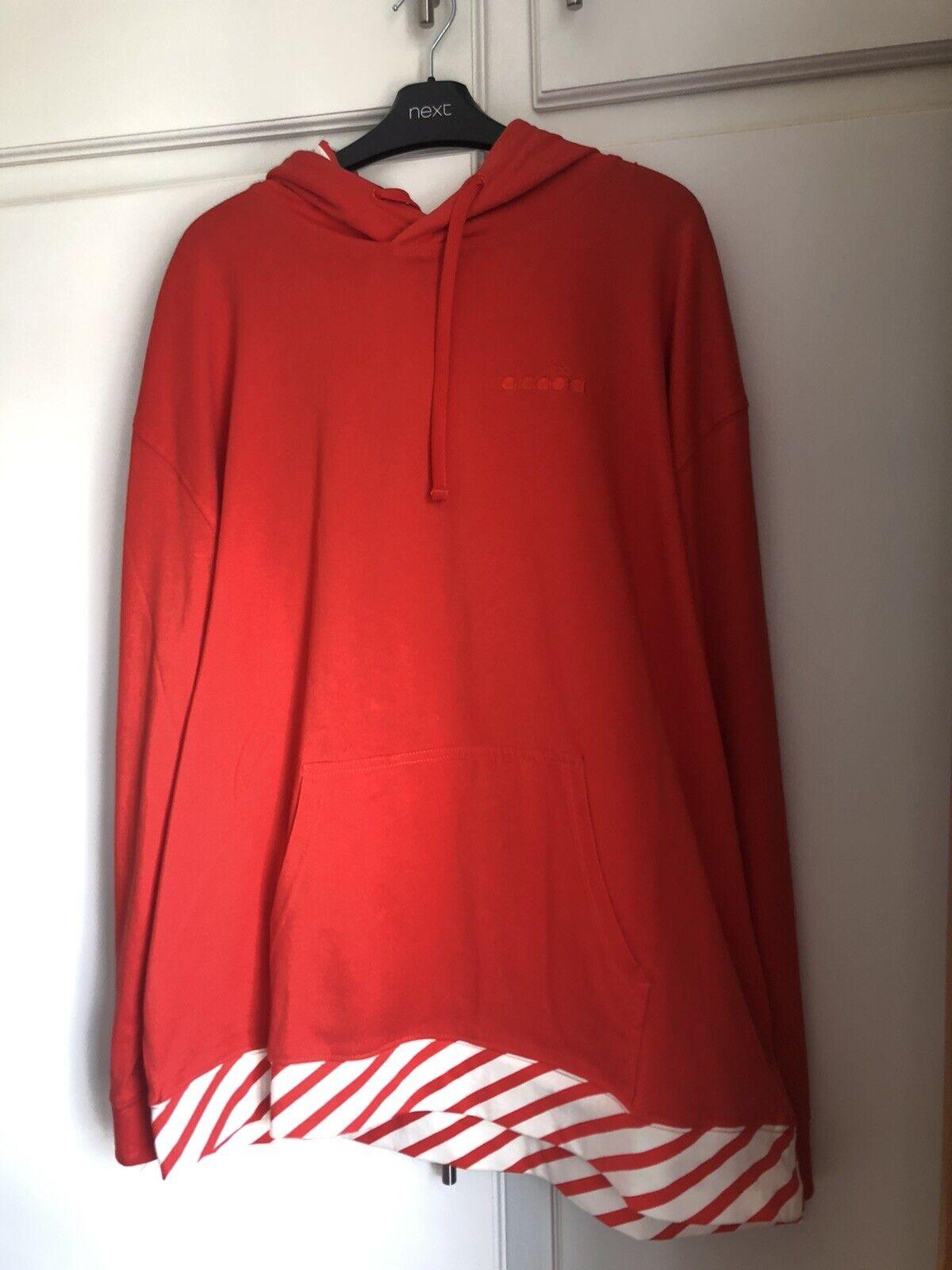 Mens Diadora Kangaroo Contrasting Red Cotton Barra Hoodie Size L
