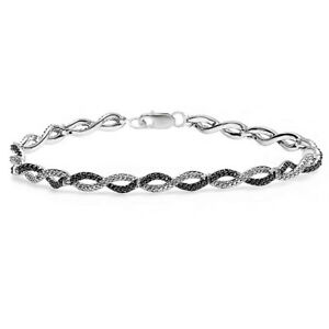 0-20-CT-Sterling-Silver-Black-amp-White-Diamond-Infinity-Tennis-Link-Bracelet