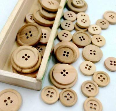 50Pcs Wooden Buttons Mixed Round 2-Holes Sewing Scrapbook DIY 20mm Colorful