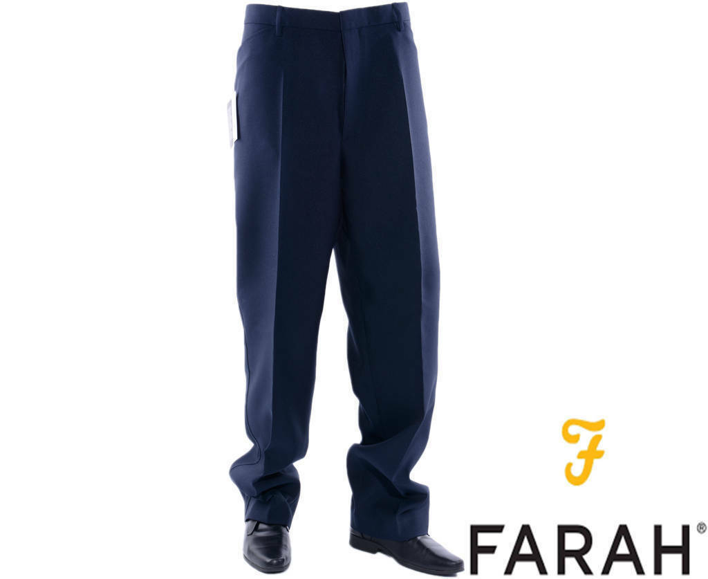 Farah Mens Straight Flat Front Formal Trousers W36  L31  BNWT RRP .99 Navy