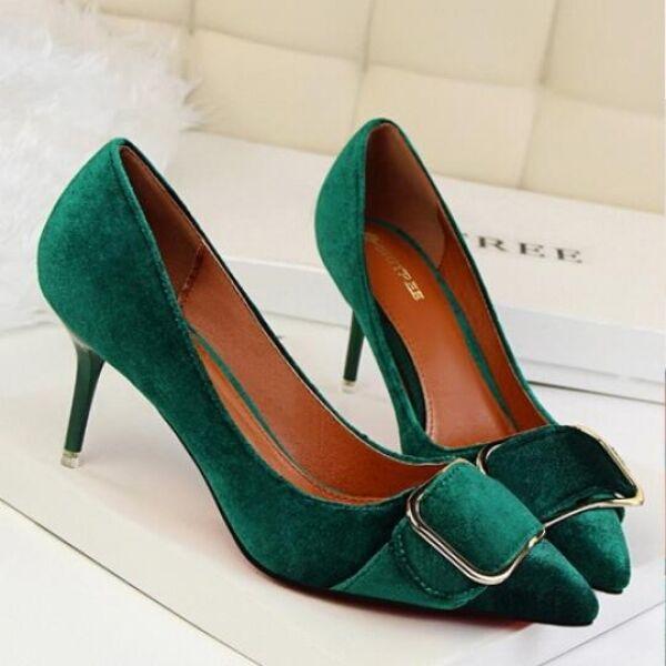 éscarpins chaussures mode pour femmes élégant vert mode chaussures talon 8 talons aiguilles 1b6f79