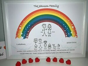 Family Tree Personalised Father's Day Rainbow Lockdown Stickman Print Gift