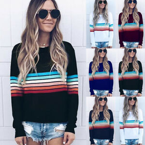Plus-Size-Womens-Striped-Sweater-Casual-Knit-Tops-Blouse-Hoodies-Pullover-Jumper