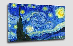 Quadro van gogh notte stellata cm 50 x 90 stampa su tela for Dipinto di van gogh notte stellata