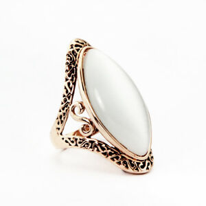 a4eef86f2422 Antique Style 18K Rose Gold GF Big Cat s Eyes Stone Vintage Ring ...