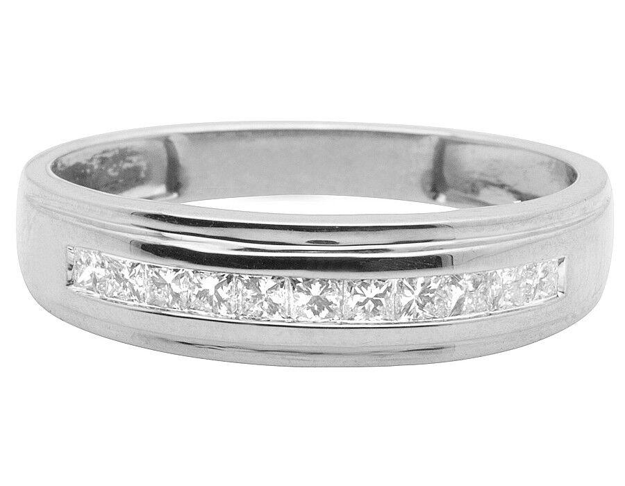 Uomo Uomo Uomo 10K oro Bianco One-Row Canale Principessa Fede Nuziale con Diamante 0.25ct 697d6b