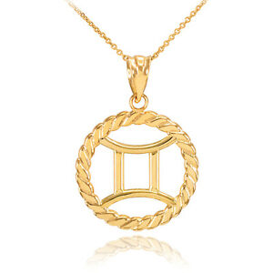 gold necklace magerit is s sign jewelry yellow new big and itm zodiac image diamonds loading gemini