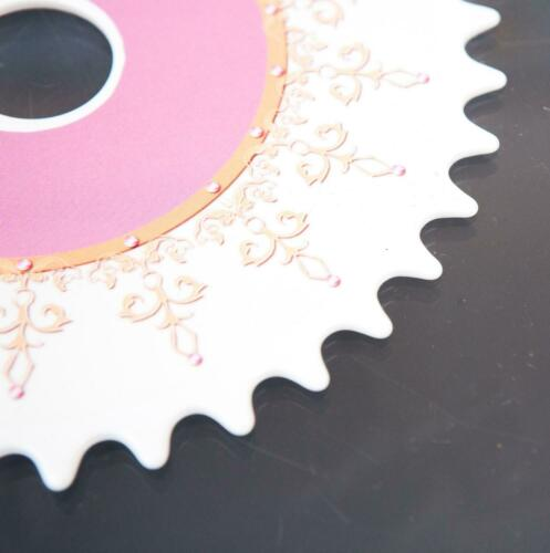 NEW DISNEY 36T WHITE AND PINK ONE PIECE BIKE//BICYCLE CRANK SPROCKET CIRCULAR
