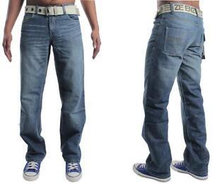 Hommes-ENZO-Coupe-Droite-Jeans-Taille-28-To-48-Gratuit-Ceinture