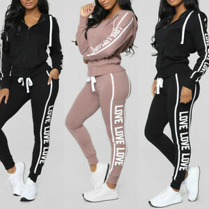 d7643fb08449d Image is loading Women-2PCS-Tracksuits-Striped-Sport-Lounge-Wear-Ladies-