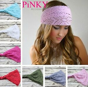 Lace-Head-band-Hairband-Head-Wrap-Thick-Fashion-Turban-Twist-Womens-UK-SELLER