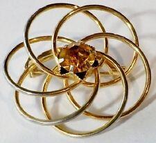 broche bijou vintage rosace fine solitaire cristal citrine couleur or 2906