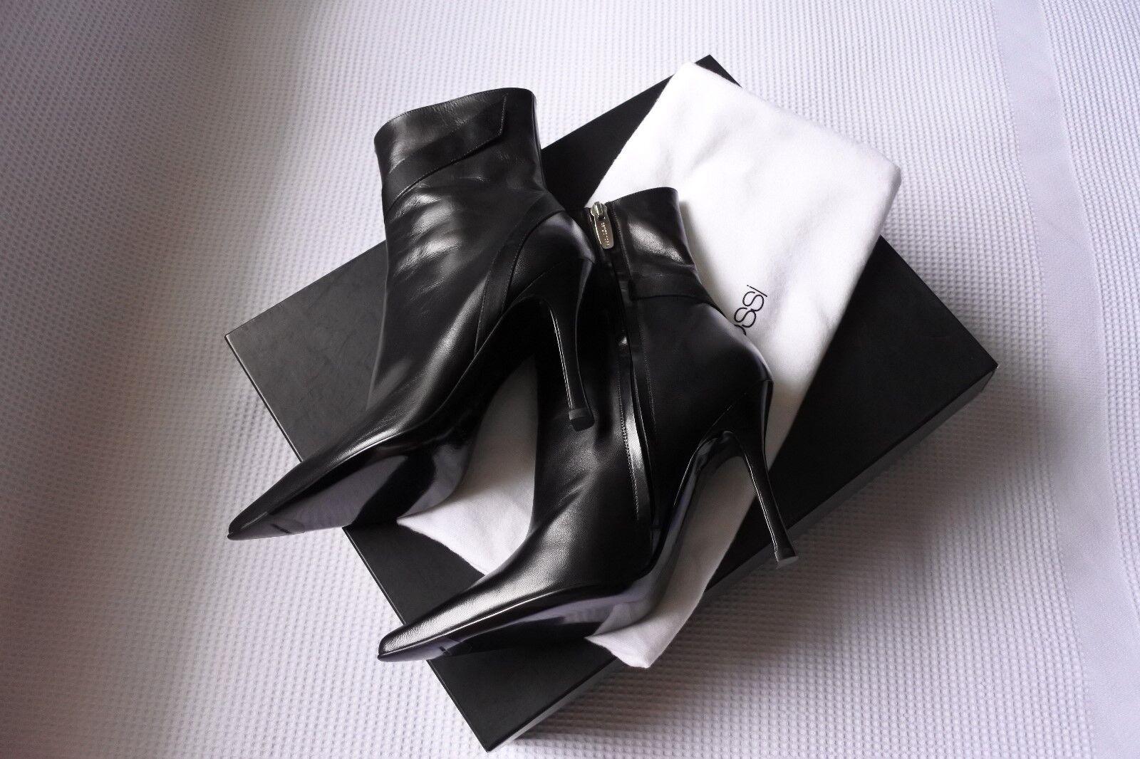 BN ladies' SERGIO ROSSI black leather Komodo ankle boots EU 35 UK 2 US 5