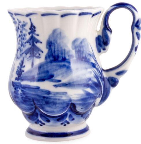 10 fl oz Gzhel Mug Russian Porcelain Teacup Гжель Handmade Ceramic Cup