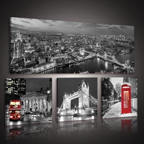 4 teilig SET Leinwandbild Wandbild Foto STADT LONDON ROT BUS 3FX10277S15