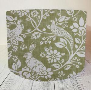 Fabric Lampshade Handmade Moss Rabbit Woodland Green Lamp Shade