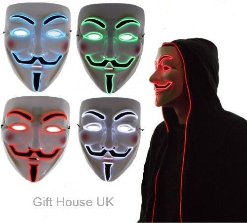 LED Halloween Anonymous Vendetta Guy Fawkes Light Up Fancy Dress Mask Costume